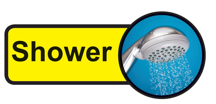 Shower Dementia Sign  210x480mm 1.2mm Rigid Plastic Safety Sign