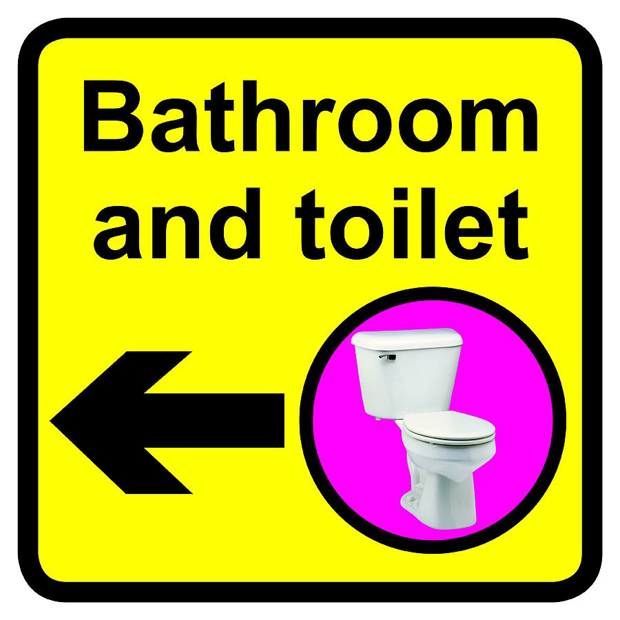 Bathroom   Toilet Dementia Sign Arrow Left 300x300mm 1.2mm Rigid Plastic Safety Sign