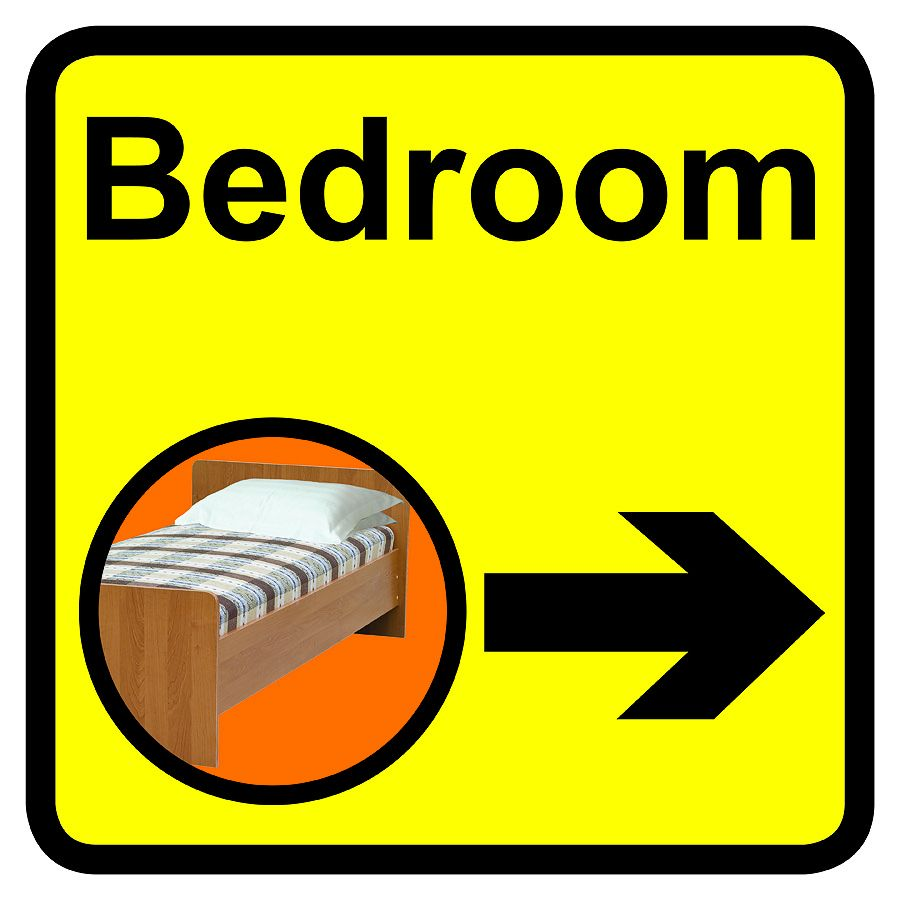 Bedroom Dementia Sign Arrow Right 300x300mm 1.2mm Rigid Plastic Safety Sign