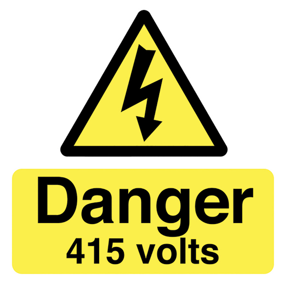 Danger 415 Volts  50x50mm Self Adhesive Vinyl Safety Sign Pack of 10