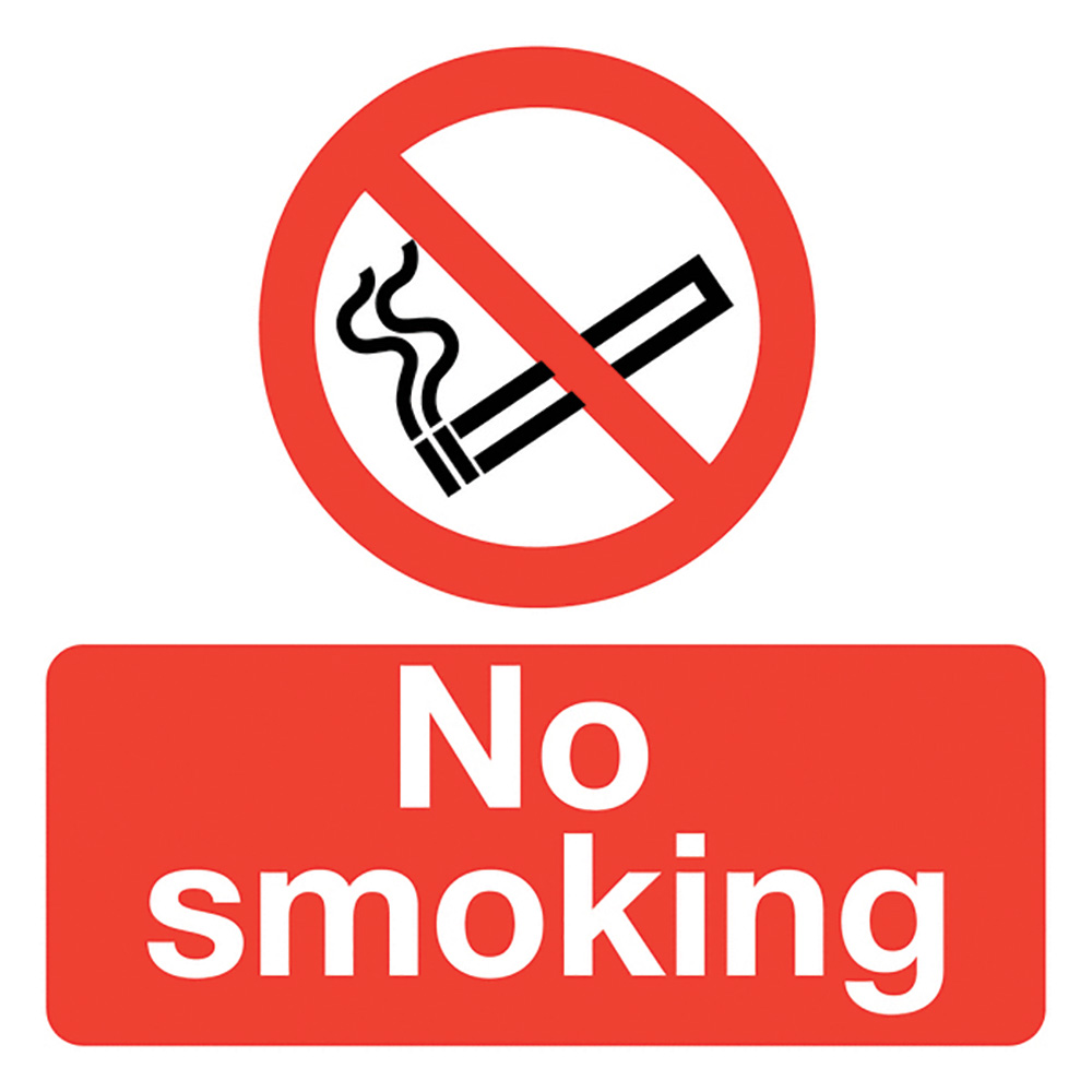 No Smoking  50x50mm Self Adhesive Vinyl Safety Sign Pack of 10