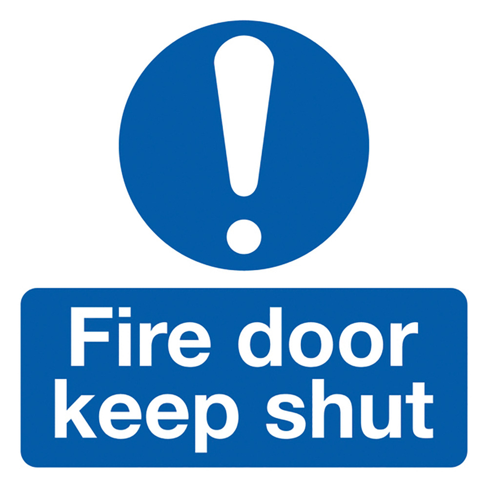 Fire Door Keep Shut  50x50mm Self Adhesive Vinyl Safety Sign Pack of 10