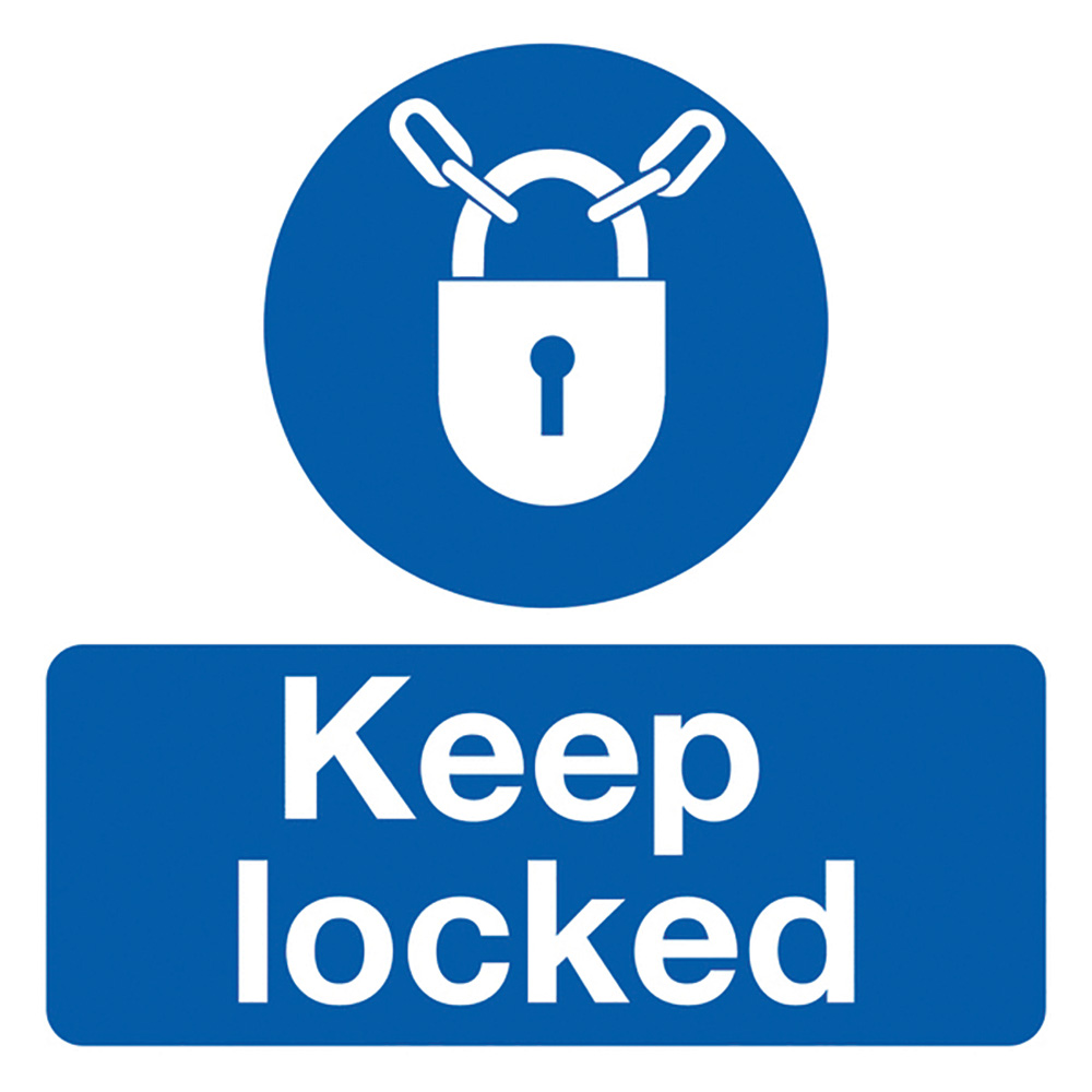 Keep Locked 50x50mm Self Adhesive Vinyl Safety Sign Pack of 10