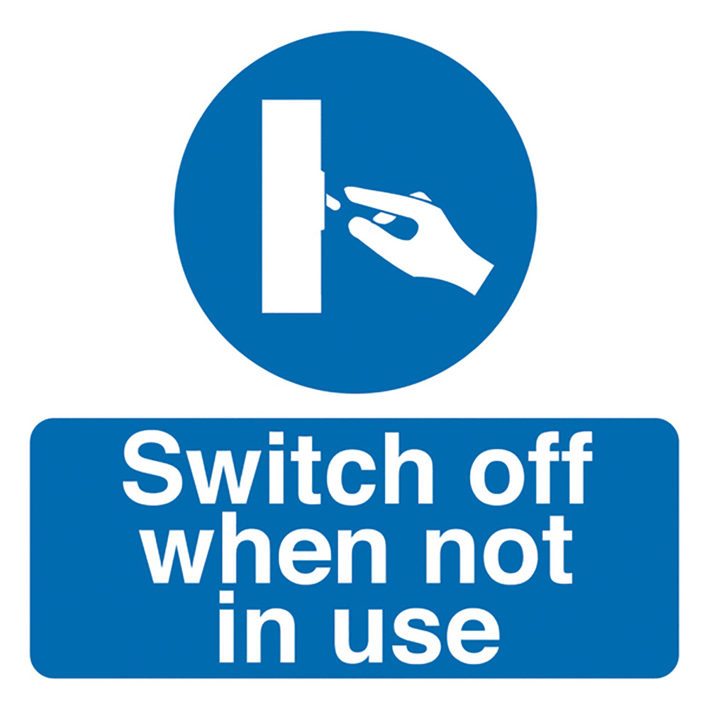 Switch Off When Not In Use 50x50mm Self Adhesive Vinyl Safety Sign Pack of 10
