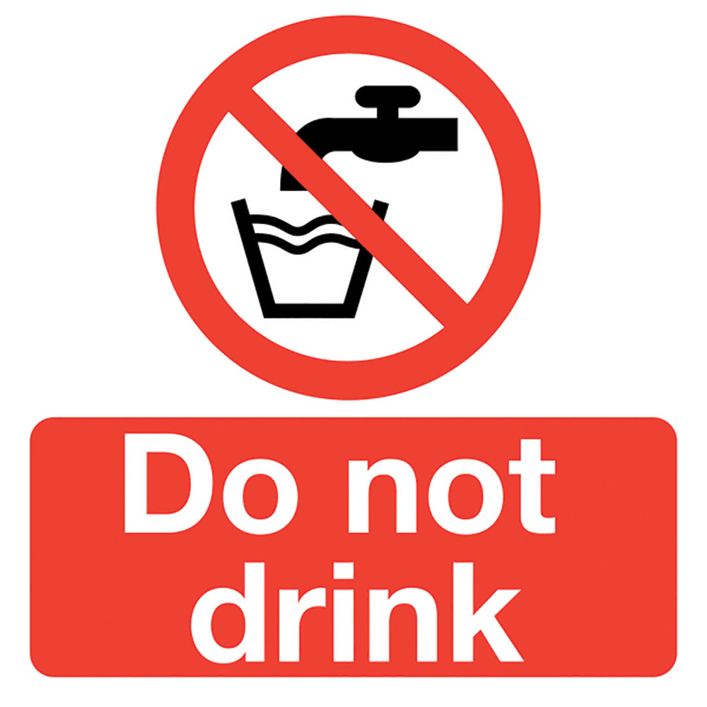Do Not Drink  50x50mm Self Adhesive Vinyl Safety Sign Pack of 10