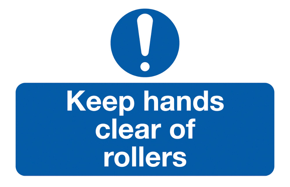 Keep Hands Clear of Rollers  58x90mm Self Adhesive Vinyl Safety Sign Pack of 6