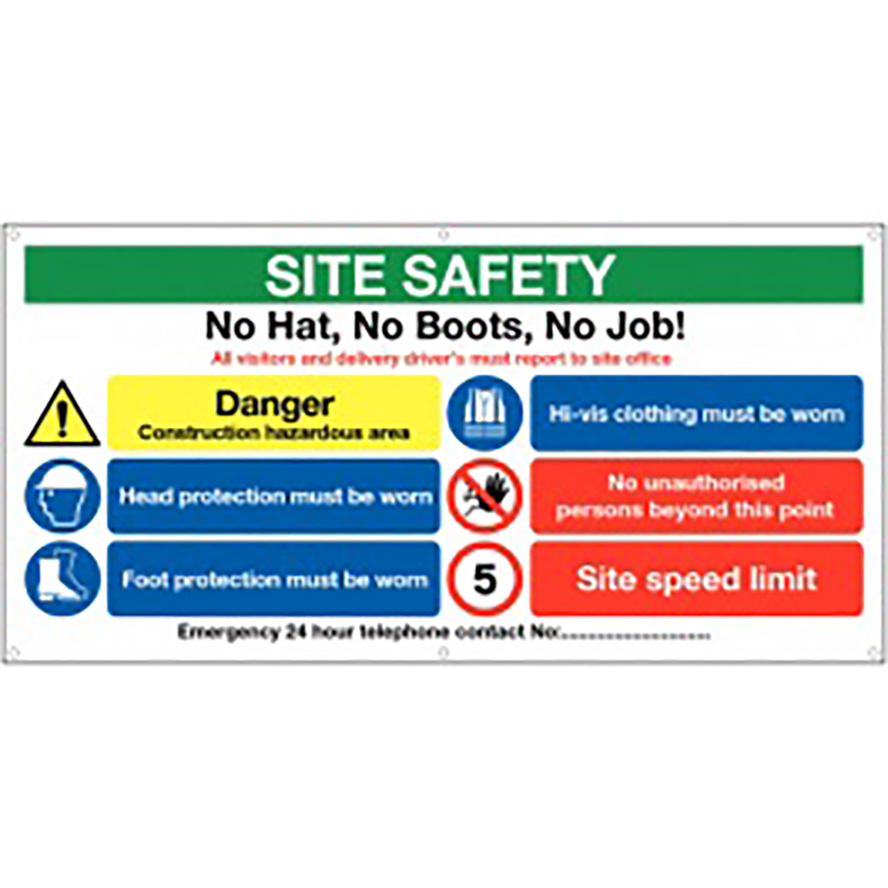 610x1220mm Site Safety No Hat No Boots - Banner Sign 500gsm