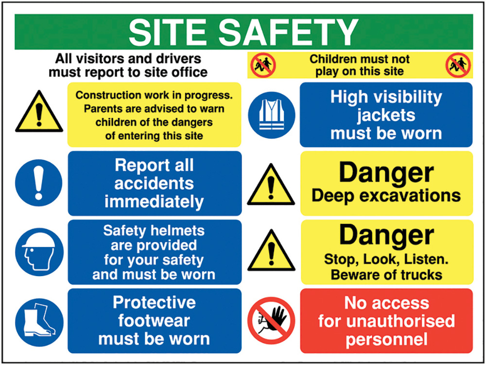600x800mm Site safety all visitors and drivers must report to - Rigid