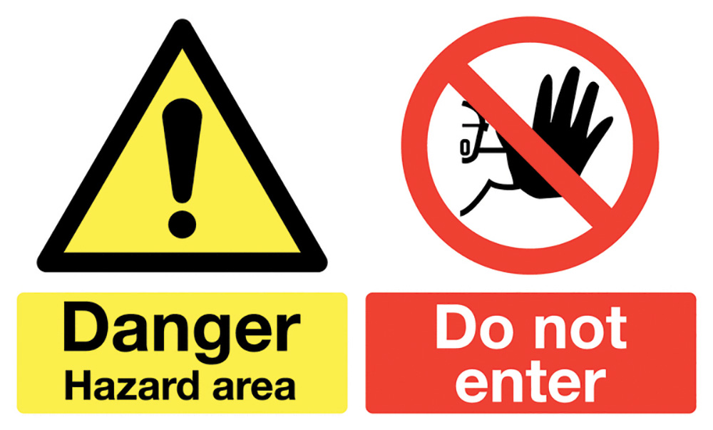 450x600mm Danger Hazard area Do not enter stanchion sign