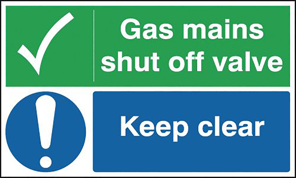 Gas Mains Shut Off Valve Keep - Site Safety Board  300x500mm 1.2mm Rigid Plastic Safety Sign
