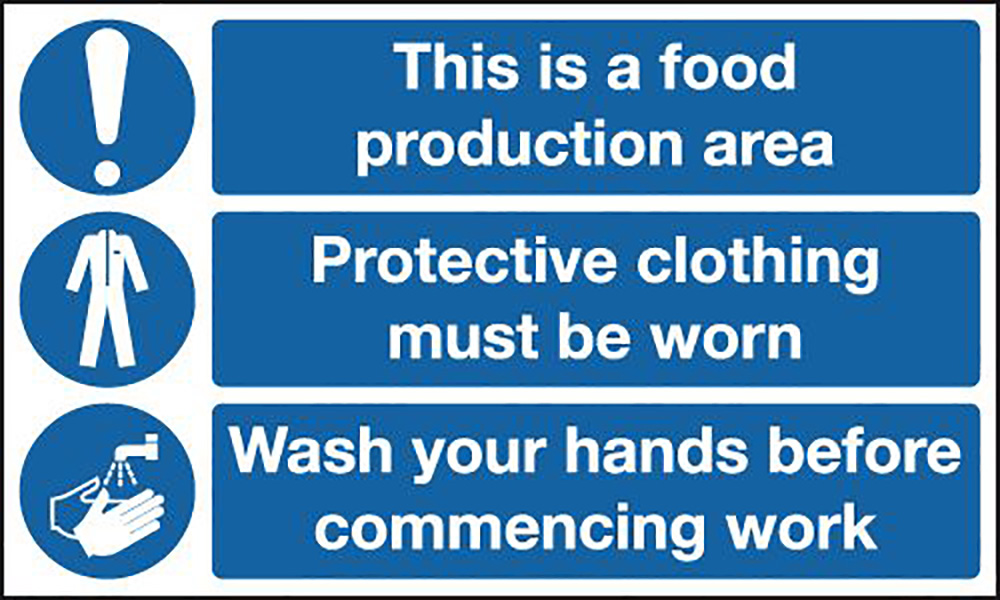 This Is A Food Production Area  Protective Clothing Must Be Worn  Wash Hands 450x600mm 1.2mm Rigid Plastic Safety Sign
