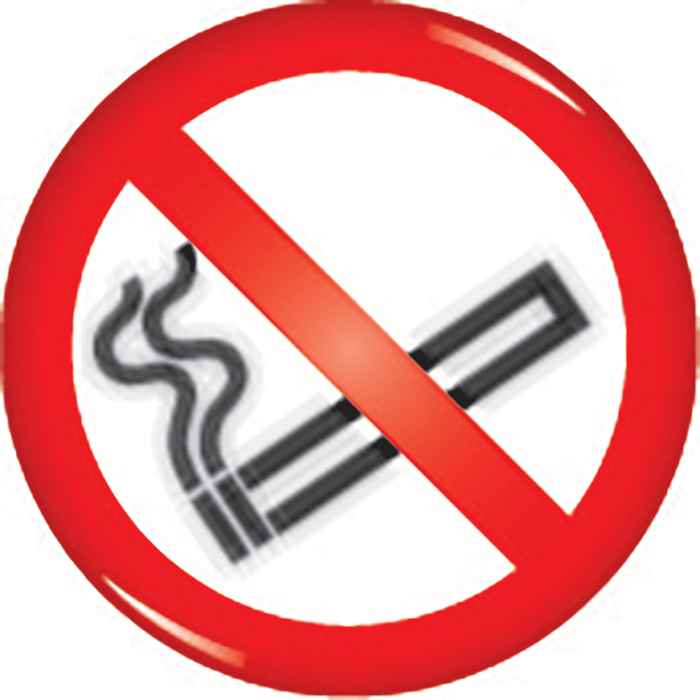 No smoking symbol domed acrylic sign 60mm Acrylic Safety Sign