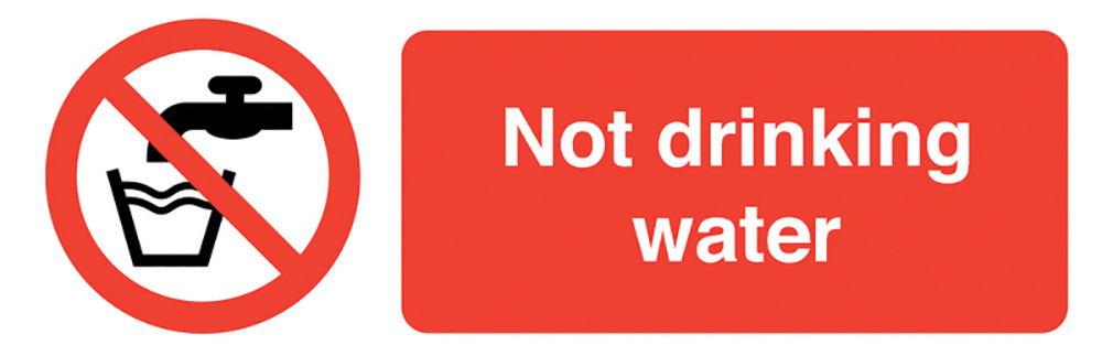 Not Drinking Water  50x150mm Self Adhesive Vinyl Safety Sign Pack of 6