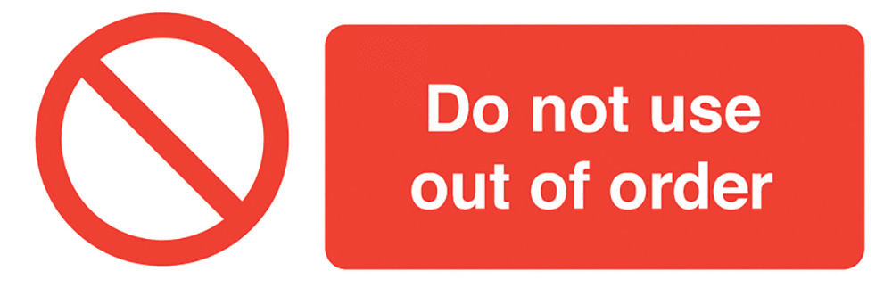 Do Not Use Out of Order  50x150mm Self Adhesive Vinyl Safety Sign Pack of 6