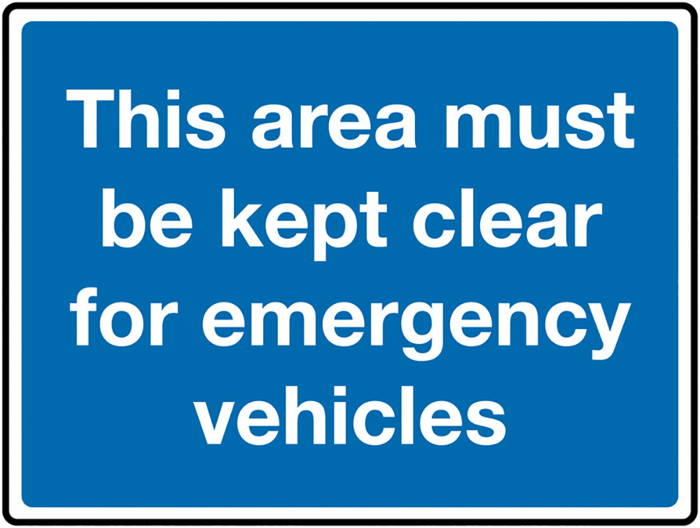 This area must be kept clear for emergency vehicles Class 1 Reflective Traffic Sign  Wall  450x600mm Reflective Safety Sign