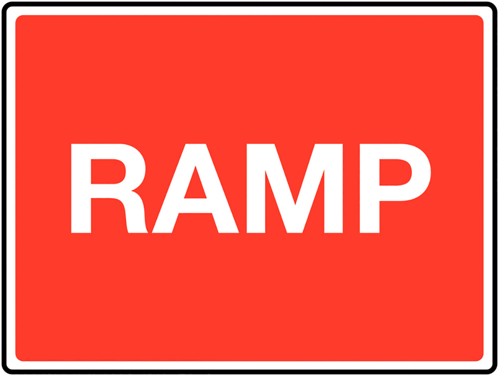 Ramp Class 1 Reflective Traffic Sign  Post  450x600mm Reflective Safety Sign