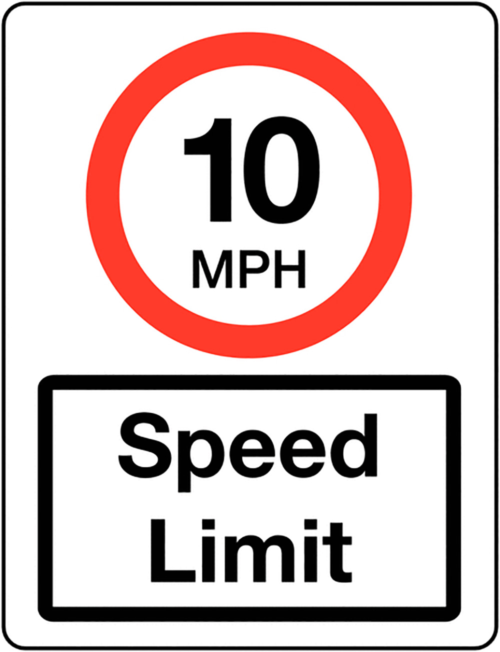 10mph Speed Limit Class 1 Reflective Traffic Sign  Post  600x450mm Reflective Safety Sign