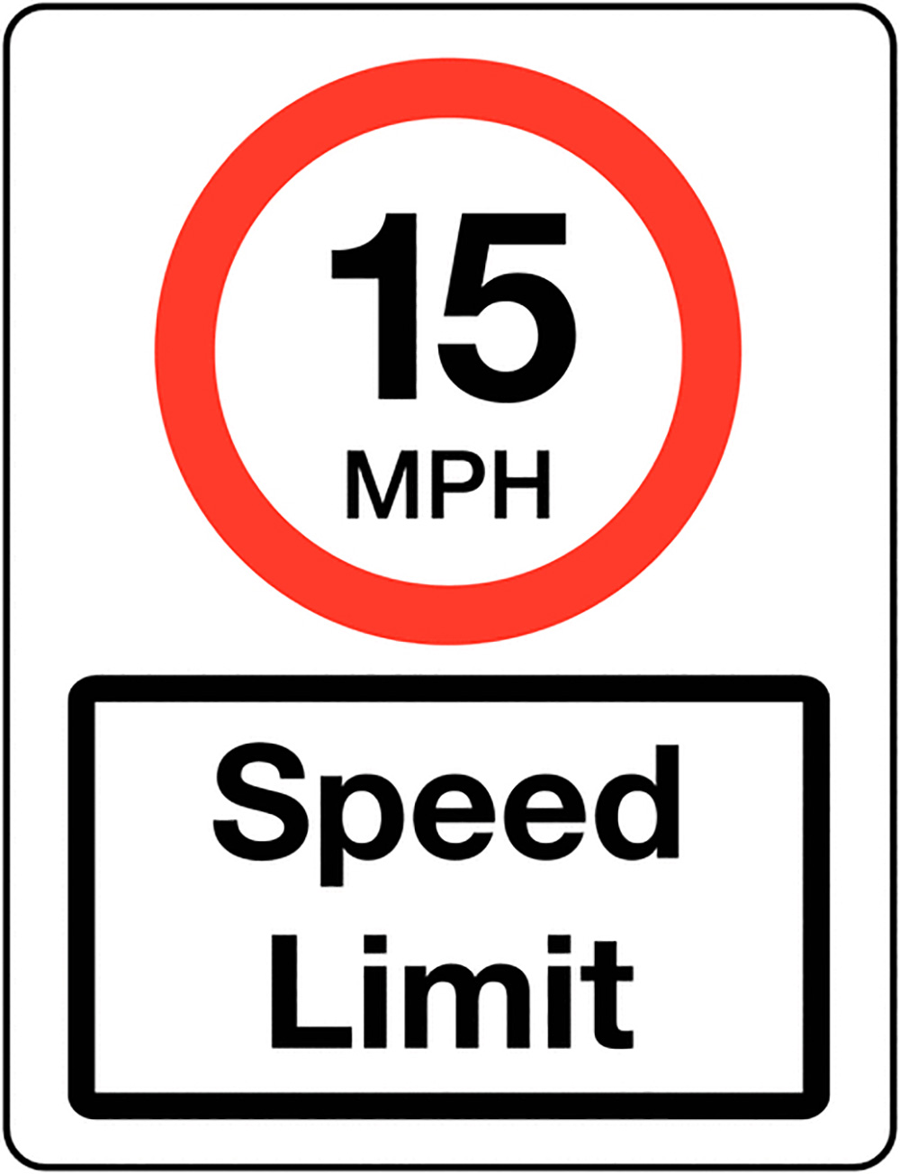 15mph Speed Limit Class 1 Reflective Traffic Sign  Wall  600x450mm Reflective Safety Sign