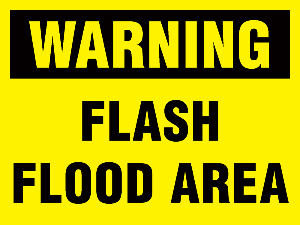 450x600mm Warning Flash Flood Area Stanchion Sign