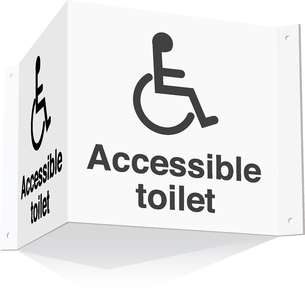 200x400mm Accessible toilet 3d Projecting Washroom Sign - white text on black background