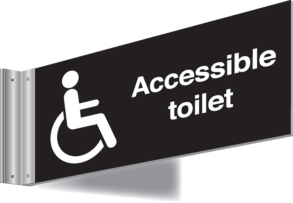 150x300mm Accessible toilet Double-sided Washroom Sign - T Bar - black text on white background