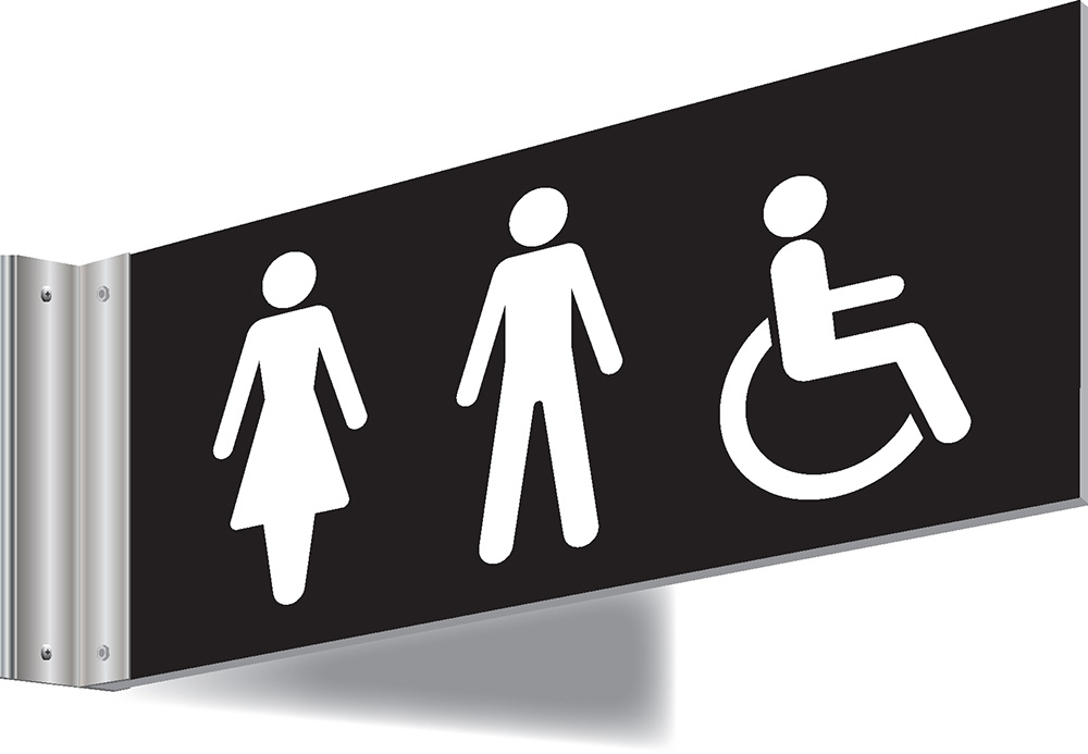 150x300mm Male Female Disabled Symbol Double-sided Washroom Sign - T Bar - black text on white background