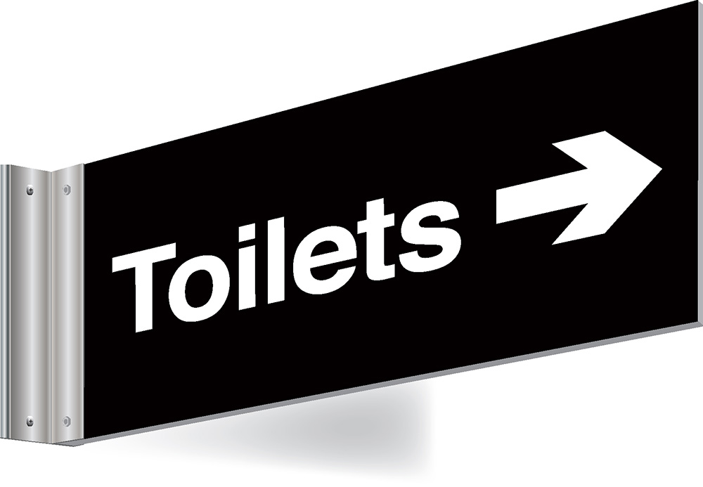 150x300mm Toilets right arrow Double-sided Washroom Sign - T Bar - black text on white background