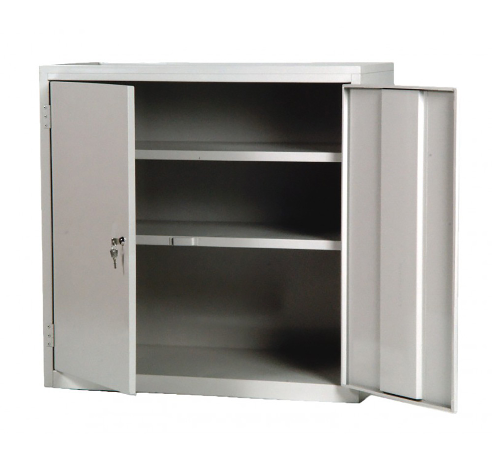 Double locker with two fixed shelves