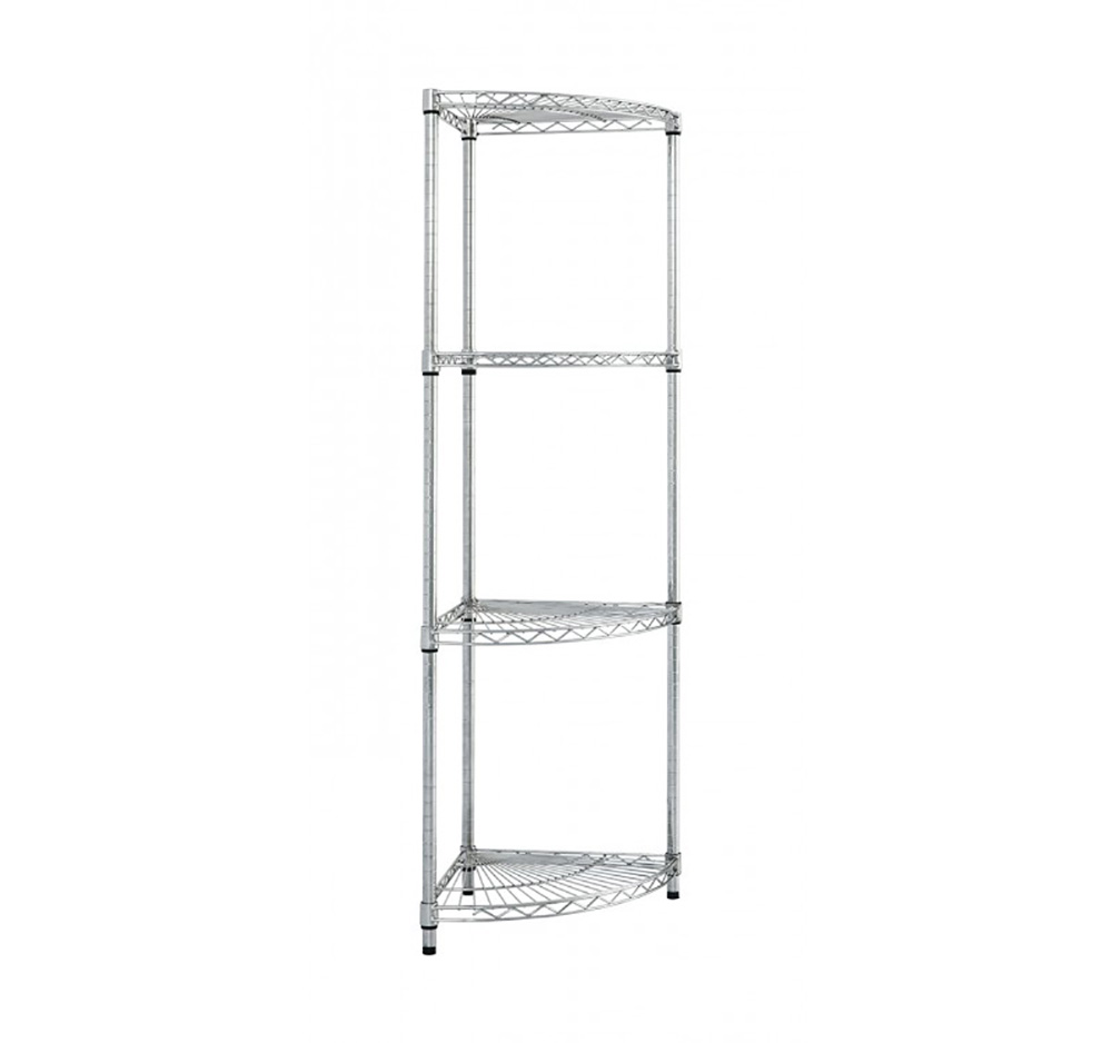 4 level Fan Shelf Chrome Wire Bay