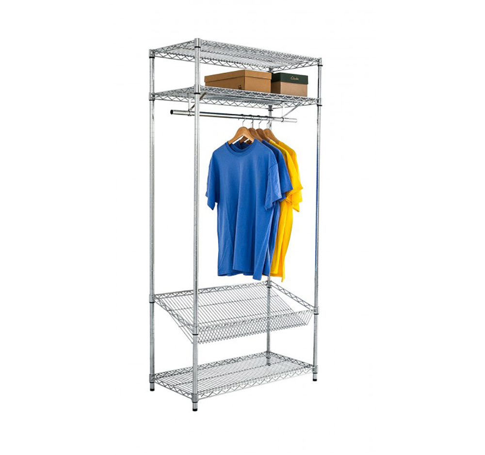 Chrome wire Garment Rack with Overshelf and Sloping Shelf