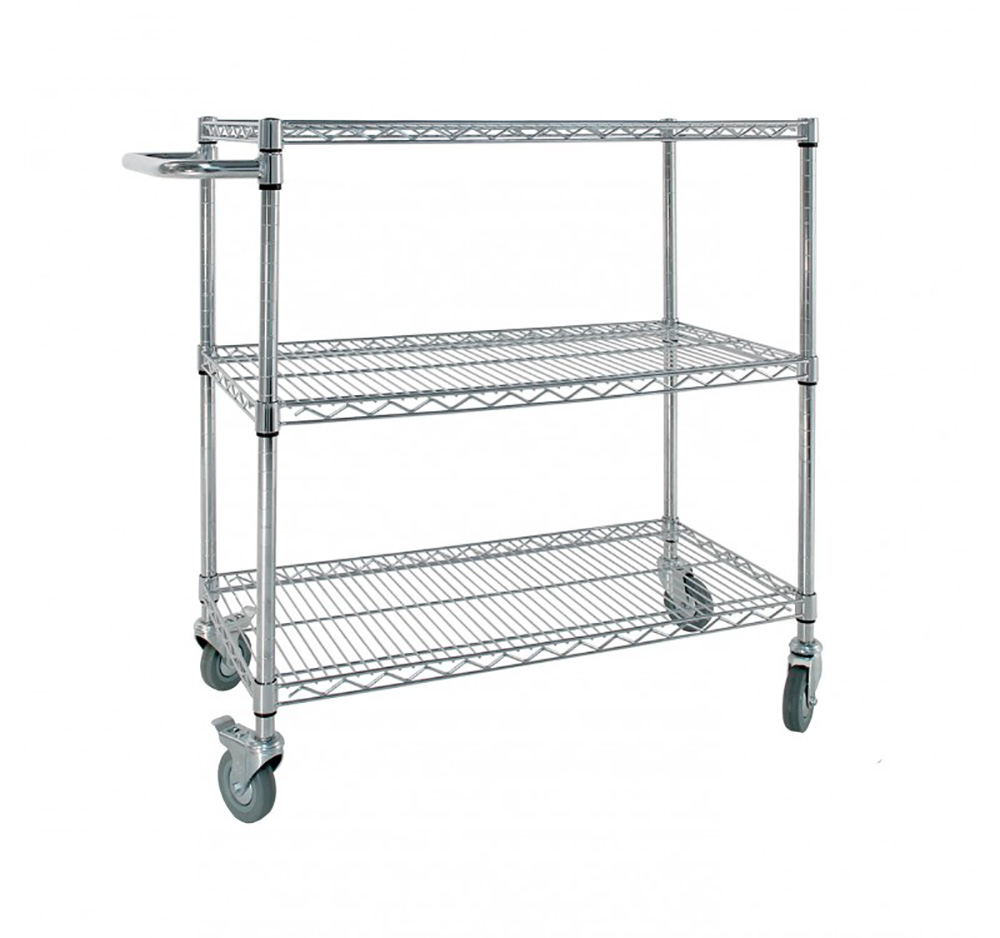 Small Chrome Wire Trolley with Handle