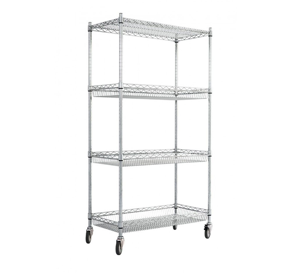 4 Level Chrome Wire Trolley with Basket Shelves