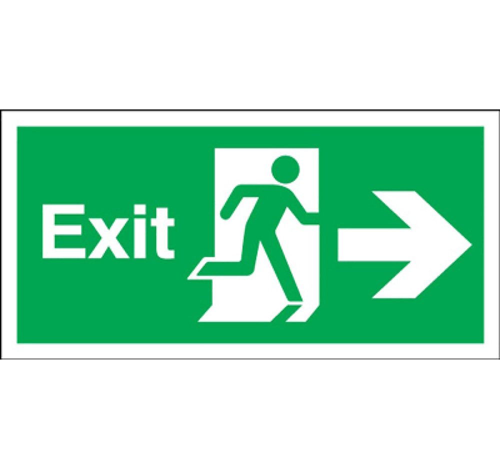 150mm x 450mm Fire Exit Sign Arrow Right  Self Adhesive Vinyl