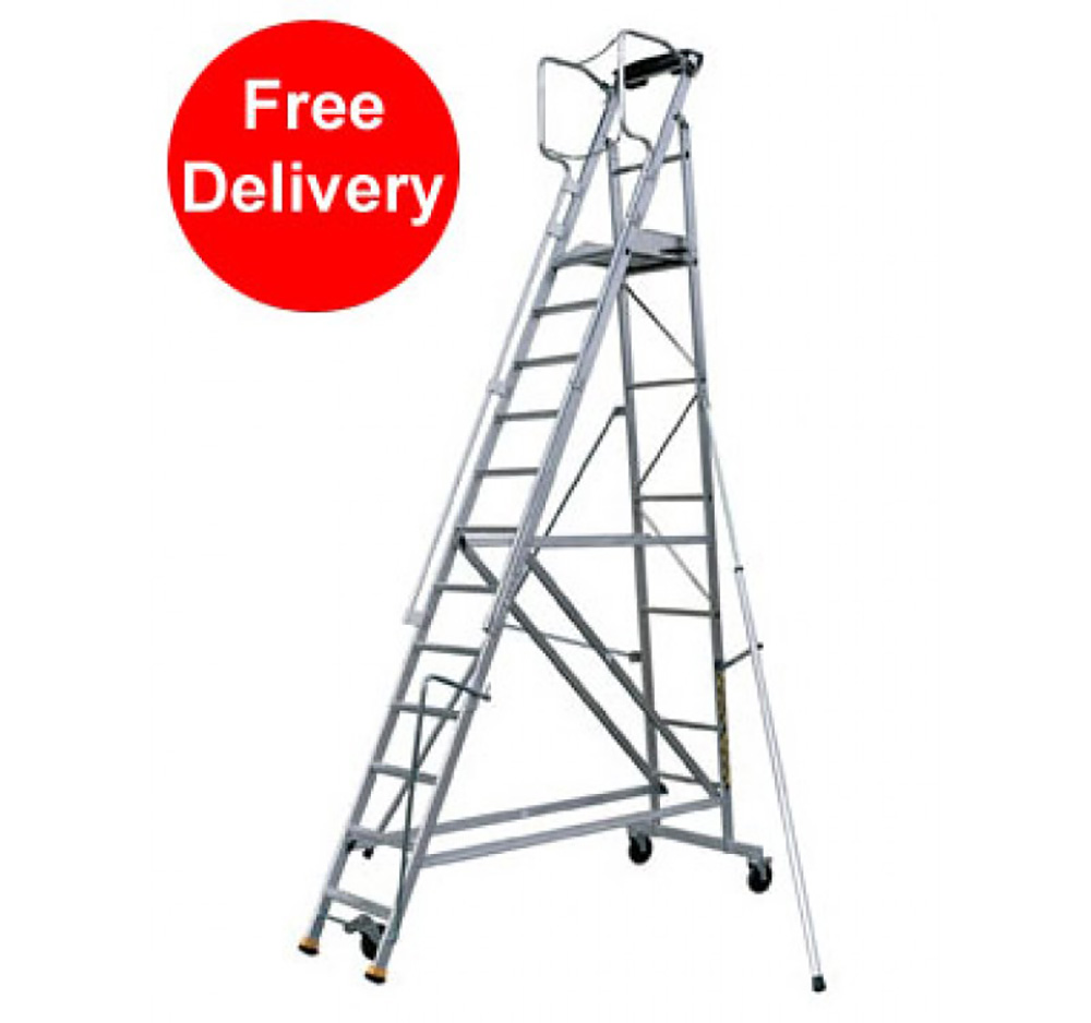 2.54m 10 Tread Folding Warehouse Stepladder