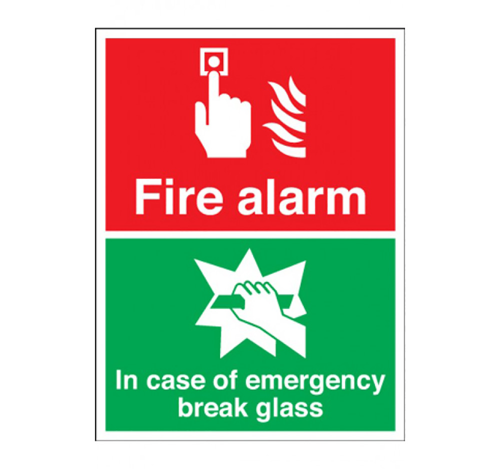 250mm x 200mm Fire Alarm In Case Of Fire Break Glass Sign  Self Adhesive Vinyl