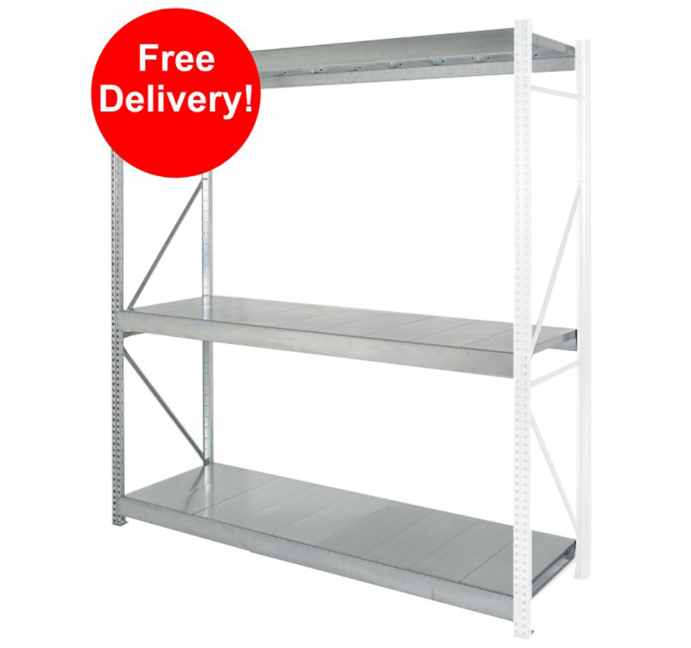 2550mm x 400mm Galvanised Shelving EXTENDER Bay