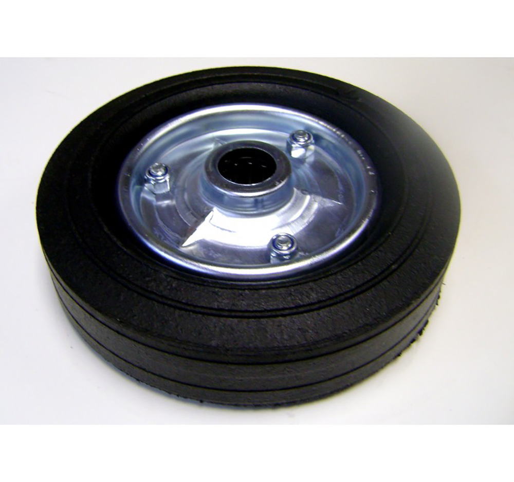 200mm Black Solid Rubber Tyre / Black Metal Centre - Roller Bearing