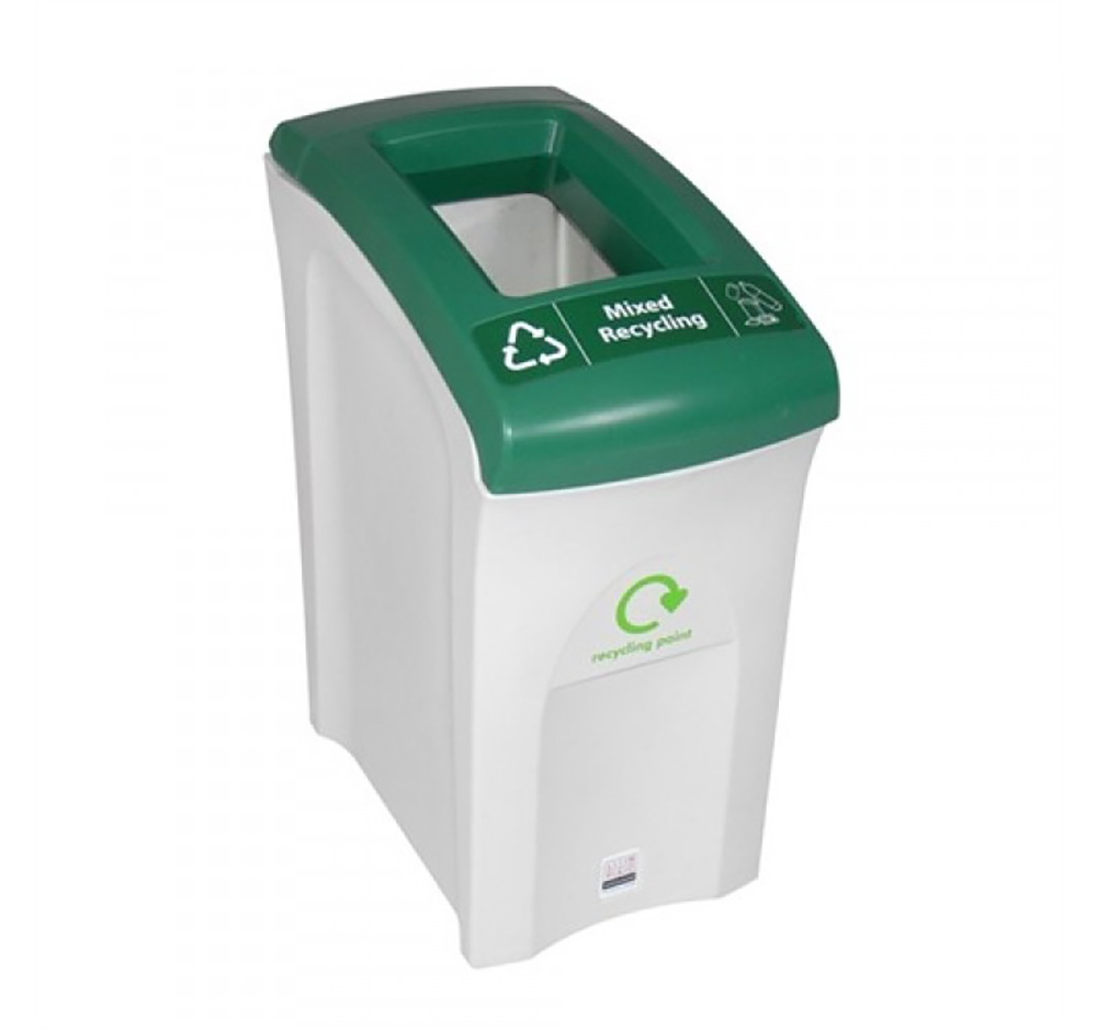 55 Litre Mini Envirobin - Open Aperture  Grey/White  with Green Lid
