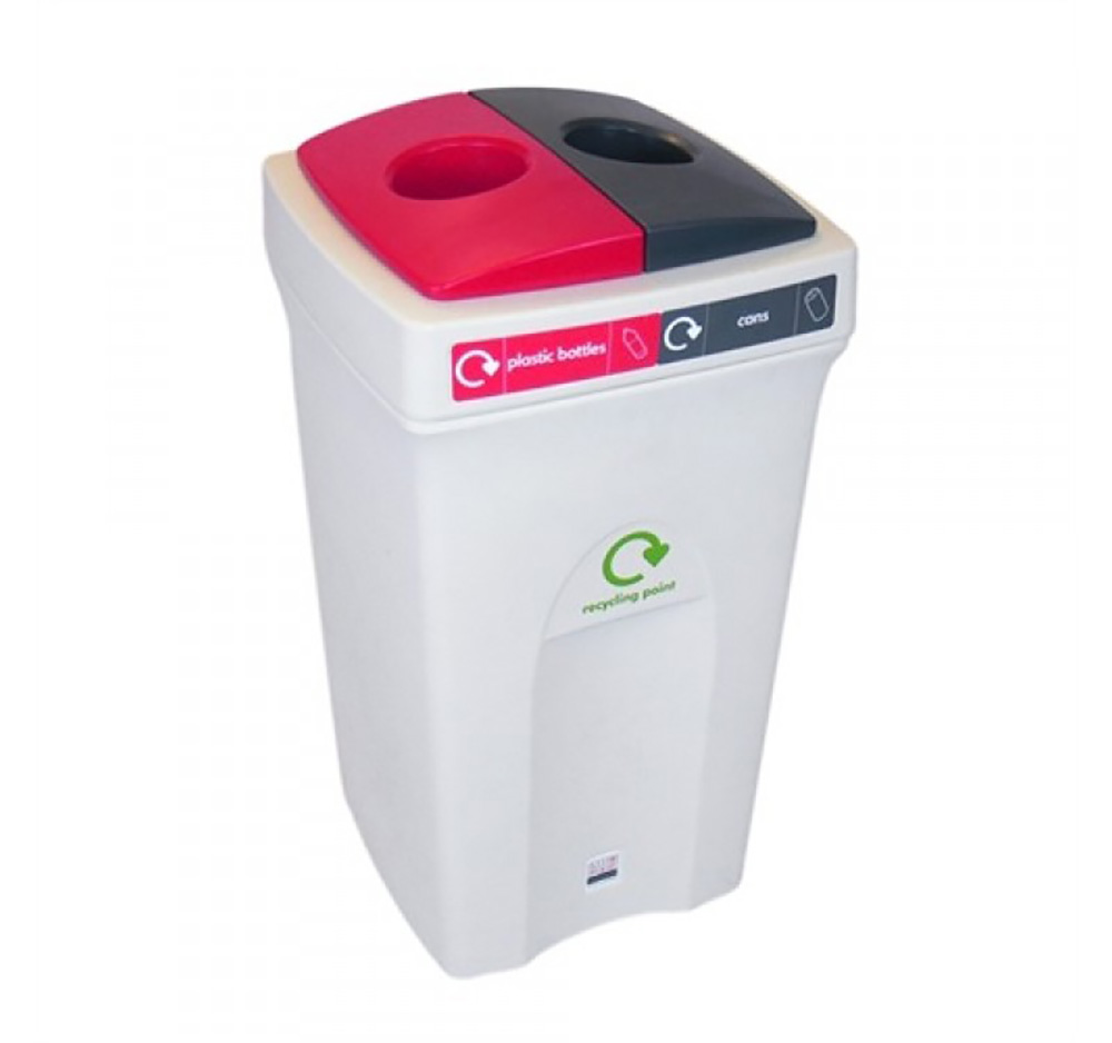 100 litre Envirobin - Split Top  2 x 50L   Grey/White  with Red   White Lid