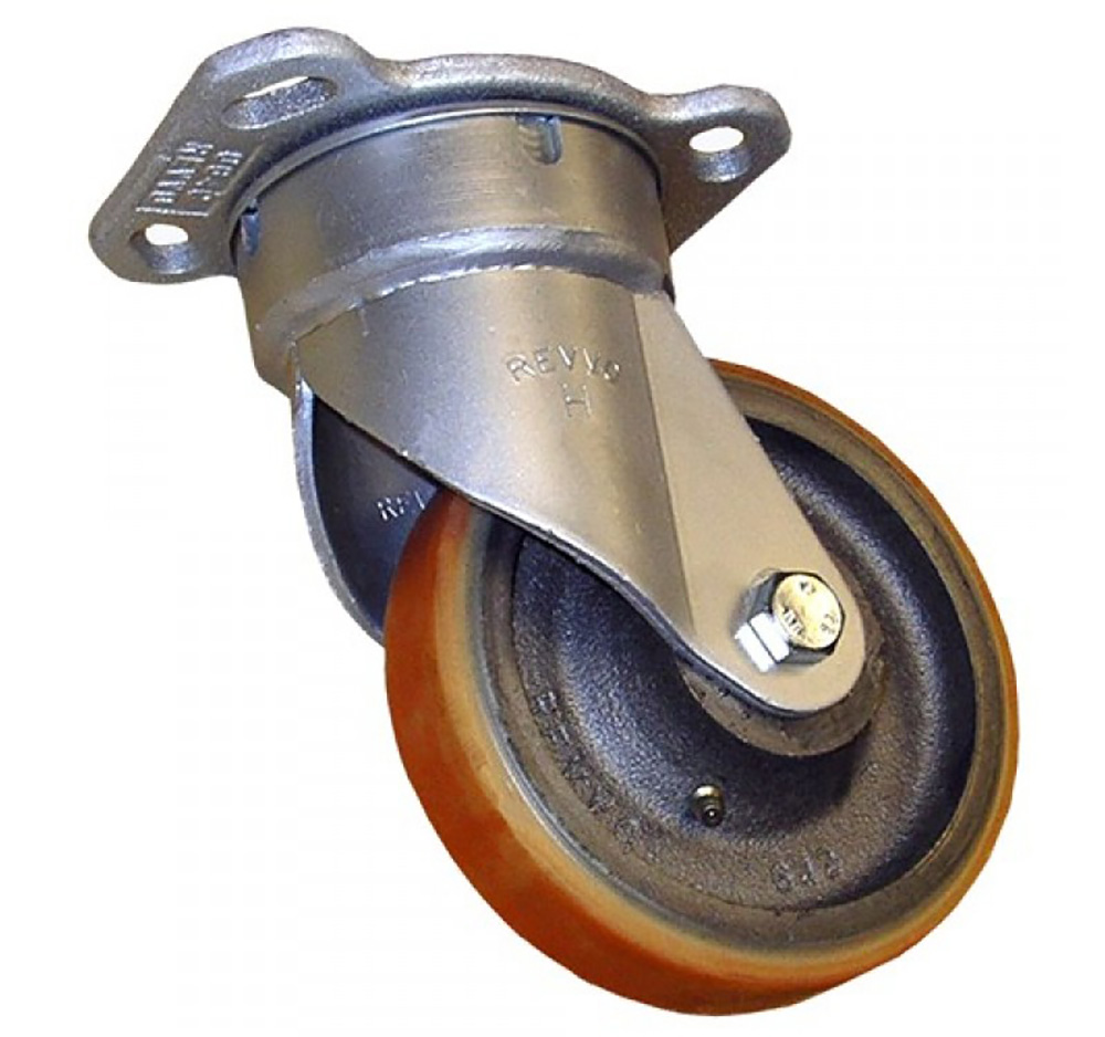 125mm Heavy Duty Top Plate Swivel Castor - Polyurethane Tyre / Cast Iron Centre