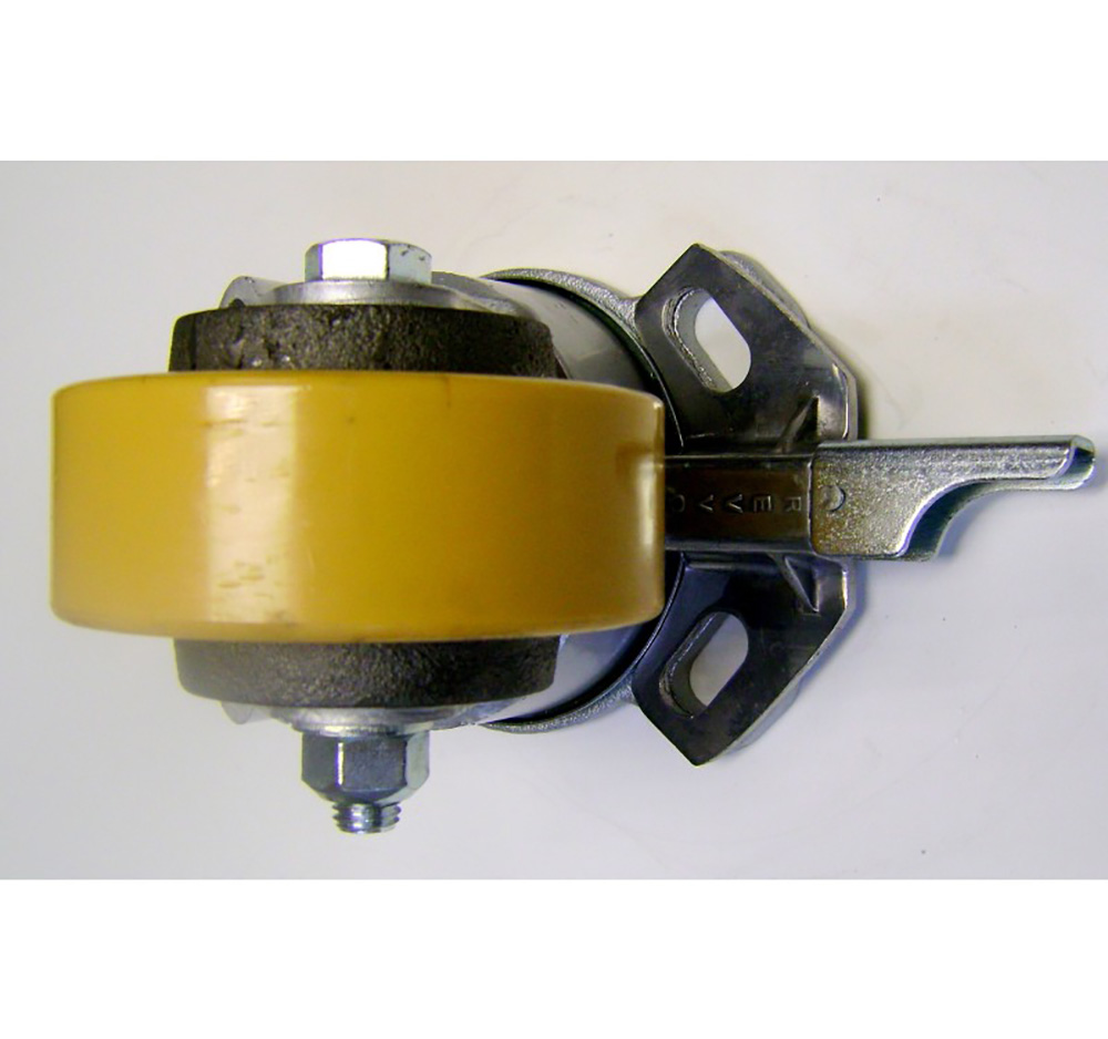 125mm Heavy Duty Top Plate Swivel Castor With Directional Wheel Brake - Polyurethane Tyre / Cast Iron Centre
