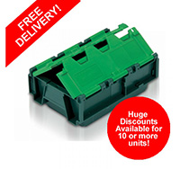 4 litre 130mm x 300mm x 200mm Stackable  Nestable Plastic Container Box - Green