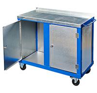 Tool Trolleys with 2mm galvanised steel top c/w 2 Cupboards
