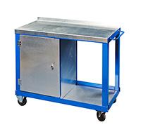 Tool Trolleys with 2mm galvanised steel tops - c/w Cupboard   Bottom Shelf