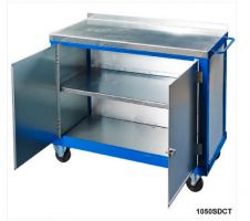 Tool Trolleys with 2mm galvanised steel top - Double Doors   Mid Shelf