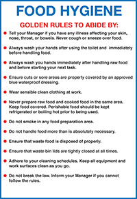 Food Hygiene 297x210mm 1.2mm Rigid Plastic Safety Sign