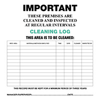 Cleaning Log Cards 210x210mm  Safety Sign Pack of 10