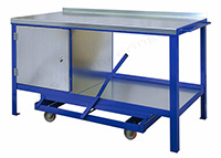 Mobile Workbench with 2mm Galvanised Steel Top - 1200mm Wide