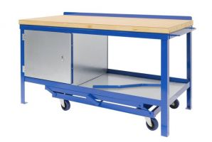 Mobile Workbench with 45mm solid Wood Top - 1200mm Wide