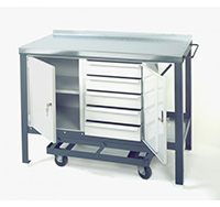 Thumbnail Steel Heavy Duty Mobile Workbench with 5 drawer unit 840mm x 1500mm x 600mm  Blue